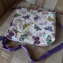 Pillangós válltáska, Táska, Válltáska, oldaltáska, Varrás, Egy romantikus, női válltáskát készítettem, ahol a lila és a pillangó játssza a főszerepet. A táska..., Meska