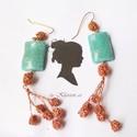 Virágos türkiz-réz fülbevaló, Lakkozott réz drótból horgoltam a fülbevalón ...