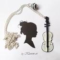 Zene nyaklánc, Fekete-fehér hangszer, csíkos gyöngy medál feh...