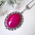 Achát ásvány köves nyaklánc, Ékszer, óra, Esküvő, Gyűrű, Medál, Ovális ezüst színű medál alapra egy csodás lilás rózsaszín levendula achát ásvány kabosont helyeztem..., Meska