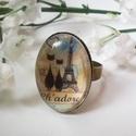 Cicák Párizsban gyűrű, Ékszer, óra, Mindenmás, Gyűrű, Medál, Ovális és állítható bronz medál alapra cicapárt Párizsban ábrázoló képet ragasztottam az üveglencse ..., Meska