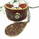 Különleges burgundi színű órakarkötő, Antik hatású bronz óralap valódi bőr szíjon,...