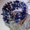 Lapis lazuli memória karkötő, Ékszer, Mindenmás, Esküvő, Karkötő, 5 soros memória karkötőt fűztem lapis lazuli chipsekből, 4- és 6 mm-es opalit gyöngyökből, Ezüst szí..., Meska