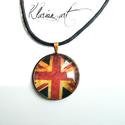 Union Jack nyaklánc, Ékszer, óra, Férfiaknak, Nyaklánc, Medál, Antik hatású bronz medálra az angolzászló részletét  üveglencse alá rejtettem. Viszos szálból készül..., Meska