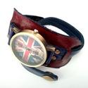 Union Jack unisex karkötőóra, Bordó és kék színt választottam ennek az egye...