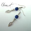 Lapis lazuli ásvány fülbevaló , Ékszer, óra, Esküvő, Fülbevaló, Nászajándék, Ezüst színű gyöngykupakokkal és nyelv alakú lógókkal, 8 mm-es lapis lazuli ásványgyöngyökkel fülbeva..., Meska