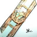 Pillangó bőr karkötőóra pasztellben, Mesésen, egyedien festett széles bőrt és az ó...