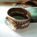 Valódi kígyóbőr órakarkötő különleges óralappal, Valódi kígyóbőr az alapja ennek az egyedi, fel...