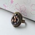 Rodonit ásvány köves  gyűrű, Ékszer, Gyűrű, Medál, Piercing, testékszer, Rodonit ásvány kő rózsaszínje gyűrű formájában. A gyűrűovális medáljában az ásvány kővek mérete 1,8 ..., Meska