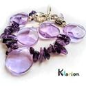 Ametiszt ásvány, ásványgyöngy karkötô, fülbevaló szett, Szabálytalan alakú és hosszúságú lila ametis...