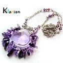 Ametiszt ásvány, ásványgyöngy nyaklánc, Szabálytalan alakú és hosszúságú lila ametis...