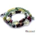 Jade, aventurin, rodonit, prehnite ásványgyöngyös nyaklánc, Ékszer, Táska, Divat & Szépség, Medál, Nyaklánc, 4 mm-es sárga jade, 8 mm-es zöld aventurin, szögletes perzsa jade, rodonit csavart hasáb, ovális, cs..., Meska