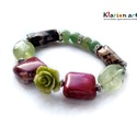 Jade, aventurin, rodonit, prehnite ásványgyöngyös karkötő, 8 mm-es zöld aventurin, szögletes perzsa jade, r...
