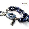 Lapis lazuli ásvány karkötő irizáló fényű szögletes kagylóval, opál ásványgyönggyel, Ékszer, Egyéb, Karkötő, Medál, 2 soros  karkötőt fűztem lapis lazuli ásványchipsekből, egy szögletes és lyukas kagyló köztessel, a ..., Meska