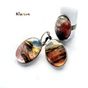 Koncentráció cseresznye kvarc (eperkvarc) ásvány gyűrű és fülbevaló, Cseresznye kvarc ásvány kabosonokat helyeztem a ...