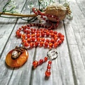 Art deko achát ásvány fánk rózsakvarc, opál ásványgyönggyel, antikolt réz drót medál, Csodás, achát ásvány fánk medált dekoráltam...