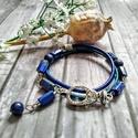 Lapis lazuli ásványgyöngy és hengerbőr karkötő, 2 soros hengerbőrrel karkötőt fűztem lapis laz...