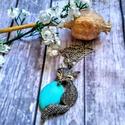 Türkiz ásvány és cirkon köves macska nyaklánc, Kedves, 2,5 cm x 1, 8 cm méretű türkinit és ap...