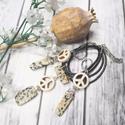 Dalmata jáspis, howlit ásvány, ásványgyöngy nyaklánc, fülbevaló, Dalmata jáspis és howlit, azaz fehér türkiz  b...