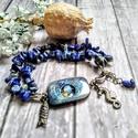 Lapis lazuli ásvány karkötő irizáló fényű szögletes kagylóval, opál ásványgyönggyel, 2 soros  karkötőt fűztem lapis lazuli ásványc...