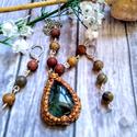 Labradorit amulett FIMO medálon, jáspis ásvány gyöngyös nyaklánc, fülbevaló szett, Labradorit amulettet készítettem FIMO medálon, ...