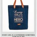 KlassDSign Tote Bags Farmertáska bőr füllel-Every girl is a superhero sometimes (klassdsigntotebags) - Meska.hu