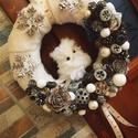 Hóbaglyos karácsonyi kopogtató, A kopogtató átmérője 25cm. Szalma koszorú az ...