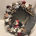 Pingvines karácsonyi kopogtató, A kopogtató 25 cm alapra készült, termésekkel ...