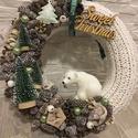 Jegesmedvés karácsonyi kopogtató, A kopogtató 25 cm alapra készült, termésekkel ...
