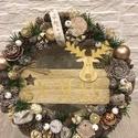 Xmas táblás karácsonyi kopogtató, Dekoráció, Karácsonyi, adventi apróságok, Otthon, lakberendezés, Ünnepi dekoráció, A kopogtató 25 cm alapra készült, termésekkel együtt végleges mérete kb. 27-28 cm.  Szalma ko..., Meska
