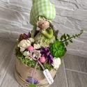 Tavasztündér asztaldísz , Az asztaldísz magassága kb. 19 cm, átmérője 1...