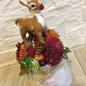 Őzikés asztaldísz , Dekoráció, Otthon, lakberendezés, Dísz, Asztaldísz, Az asztaldísz magassága kb. 18 cm. Egy beige feliratos kaspóba kerültek a különböző termések, virágo..., Meska