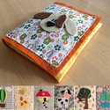 Vidám, filc csendes könyv babáknak, Baba-mama-gyerek, Játék, Készségfejlesztő játék, Baba játék, Filcből és pamutvászonból készítettem ezt a babakönyvet. 6 darab színes képet ábrázol (+1..., Meska