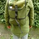 Kicsi roll hátizsák, hátitáska, Táska, Hátizsák, Varrás, Kisméretü roll hátizsák külsö részét zöld szinü oxford(ptp) anyagból készitettem ,az elején vizálló..., Meska