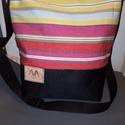 Csíkos válltáska, Táska, Válltáska, oldaltáska, Csíkos válltáska. Ezt a táskát csíkos vászonból és fekete cordurából készítettem,belsej..., Meska