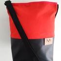 Piros és fekete válltáska, Táska, Divat & Szépség, Táska, Válltáska, oldaltáska, Tarisznya, Varrás, Piros és fekete válltáska. Ezt a táskát piros sátorponyvából és fekete textilbőrből készítettem,bel..., Meska