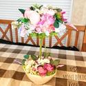 Virágfa asztaldísz, Otthon, lakberendezés, Asztaldísz,  Gyönyörű ,egyedi virágfa keresi gazdáját.  Natúr színű kaspót kibéleltem száraz oáziss..., Meska