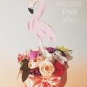 Flamingós asztaldísz, Dekoráció, Otthon, lakberendezés, Ajtódísz, kopogtató, Asztaldísz, Divatos flamingós asztaldísz , Meska