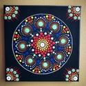 Dotmandala festmény swarovski kövekkel , Dekoráció, Otthon, lakberendezés, Kép, Falikép, 20X20cm-es,3d-s vászonra készült dotmandala festmény melyre különböző színű swarovski köv..., Meska