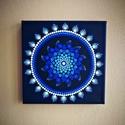 Kék dotmandala festmény swarovski kövekkel díszítve, Dekoráció, Otthon, lakberendezés, Kép, Falikép, Alapozott,20x20cm-es, 3d-s vászonra akrill festékkel festett mandala, melyre a tartósság növelésének..., Meska