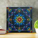 Rainbow square dotmandala festmény, Dekoráció, Otthon, lakberendezés, Kép, Falikép, Alapozott,30x30cm-es, 3d-s vászonra akril festékkel festett mandala, melyre a tartósság növelé..., Meska