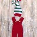 Karácsonyi manó szett, Baba-mama-gyerek, Dekoráció, Karácsonyi, adventi apróságok, Ruha, divat, cipő, Ünnepi dekoráció, Két részes szett karácsonyi ajándéknak, vagy fotózáshoz 0-2 hónapos babáknak., Meska