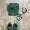 Újszülött zöld  szett, Zöld bonet sapka tutyival,  kötővel fotózásho...