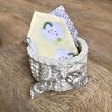 Baby kosár, Baba-mama-gyerek, Baba-mama kellék, Horgolás, Varrás, Horgolt  ajándékkosár 3  modern mintás kendővel.(bababarát pamutvászon, pamut pelenka anyag) Kiváló..., Meska