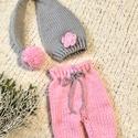 Újszülött sapkás babaszett, Rózsaszín-szürke  színű, 2 részes  (nadrág,...