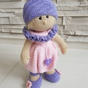 Kézzel készített pink-levendula színű  horgolt baba, Baba-mama-gyerek, Játék, Dekoráció, Baba játék, , Meska