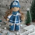 Kézzel készített kék- fehér színű horgolt baba, Baba-mama-gyerek, Játék, Dekoráció, Baba játék, , Meska