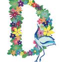 D betű virágokból, Otthon, lakberendezés, Baba-mama-gyerek, Dekoráció, Gyerekszoba, Egyedi, saját tervezésű nyomat.  Nyomdában nyomtatva, vászonprégelt kreatív kartonrra A4-es (210 x 2..., Meska