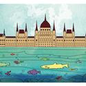 Duna halakkal, háttérben a Parlament, Dekoráció, Baba-mama-gyerek, Kép, Gyerekszoba, Gyerekszoba fali dekoráció,   falikép A4-es méretben (210mm x 297mm), keret nélkül  Vászon prégelt k..., Meska