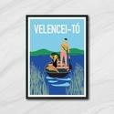 Velencei-tó, Otthon, lakberendezés, Képzőművészet, Falikép, Illusztráció, Retro hangulatú, Velencei-tó poszter. Az ár 1 db képre vonatkozik, a keretet NEM tartalmazza.   ..., Meska